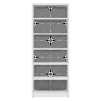 Möbelfolie für IKEA Billy Regal - Klebefolie Abstraktes Ornament Schwarzweiß