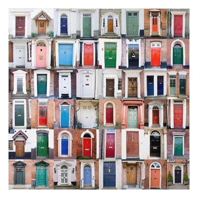 Aluminium Print - Wandbild 100 Türen - Quadrat 1 1